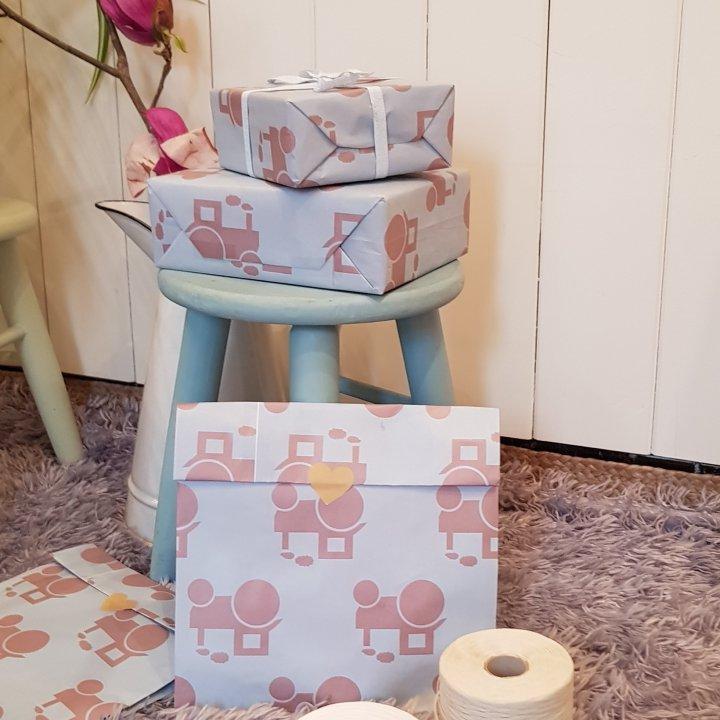Flat Bags 24 + 9,5 x 42cm 100 units BABY BLUE/GOLDEN PINK