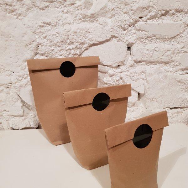 Cilindric Kraft Bag 15x26cm paquetes de 100 unidades