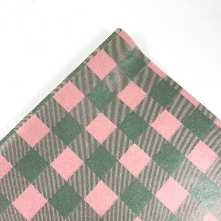 Papel Seda  25 hojas de 62x86cm ROSA VINTAGE/VERDE ANTIGUO